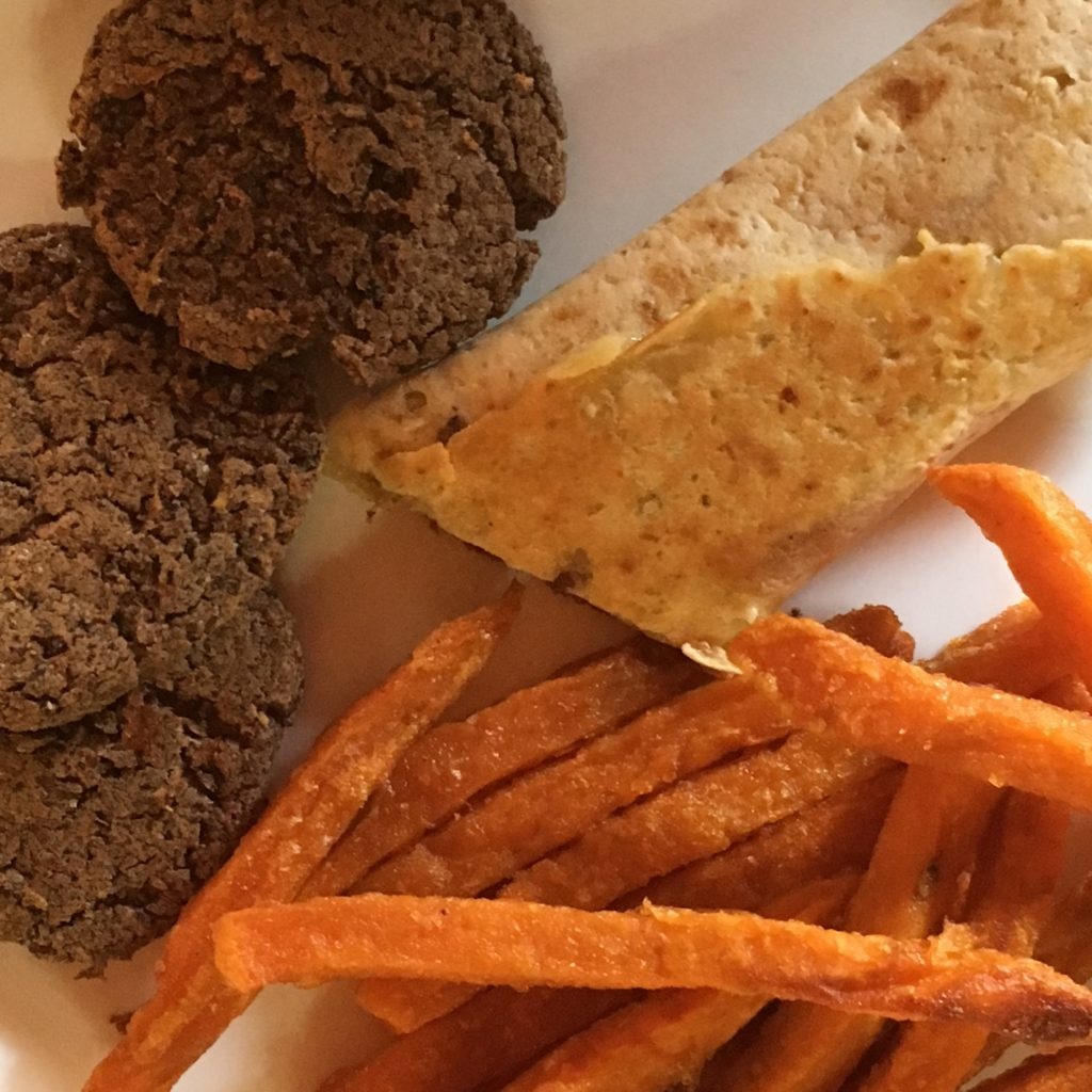 black bean nuggets, sweet potato fries